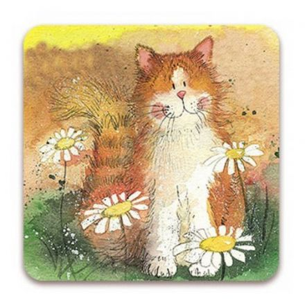 Cat and Daisies Corked Backed Coaster